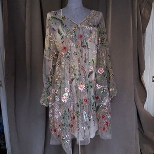 H&M Embroidered Flower Ukrainian Style dress M/L